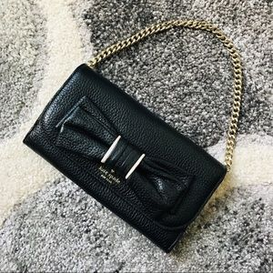 Kate Spade Black and White Chain Wallet Clutch